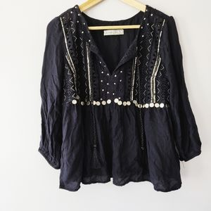 Abercrombie & Fitch black bohemian shirt with coin